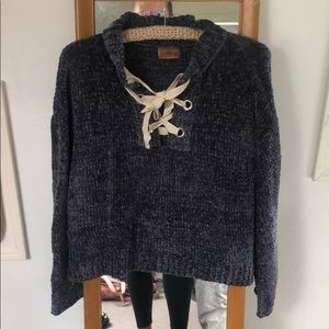 POL Lace Up Ribbed Sweater Navy Blue size medium